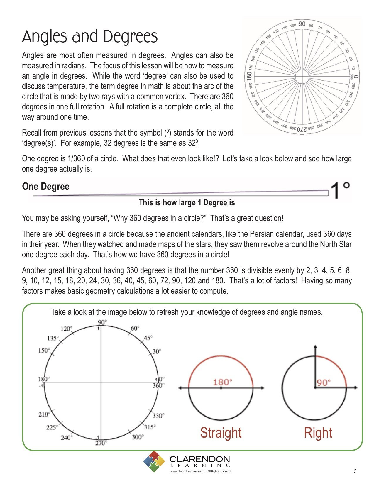 Angles In A Circle Worksheet Angles and Degrees Lesson Plan