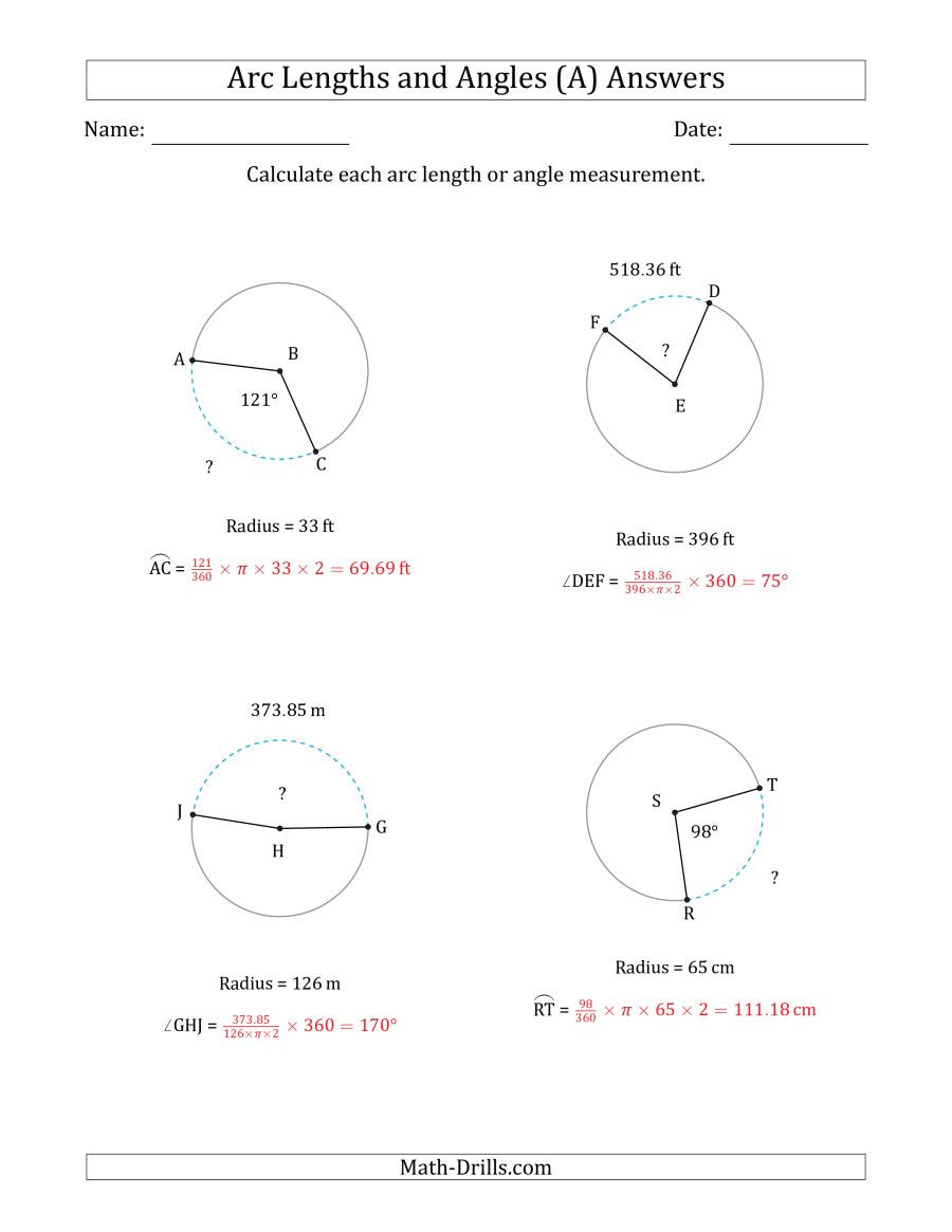 Angles In A Circle Worksheet Calculating Arc Length or Angle From Radius A