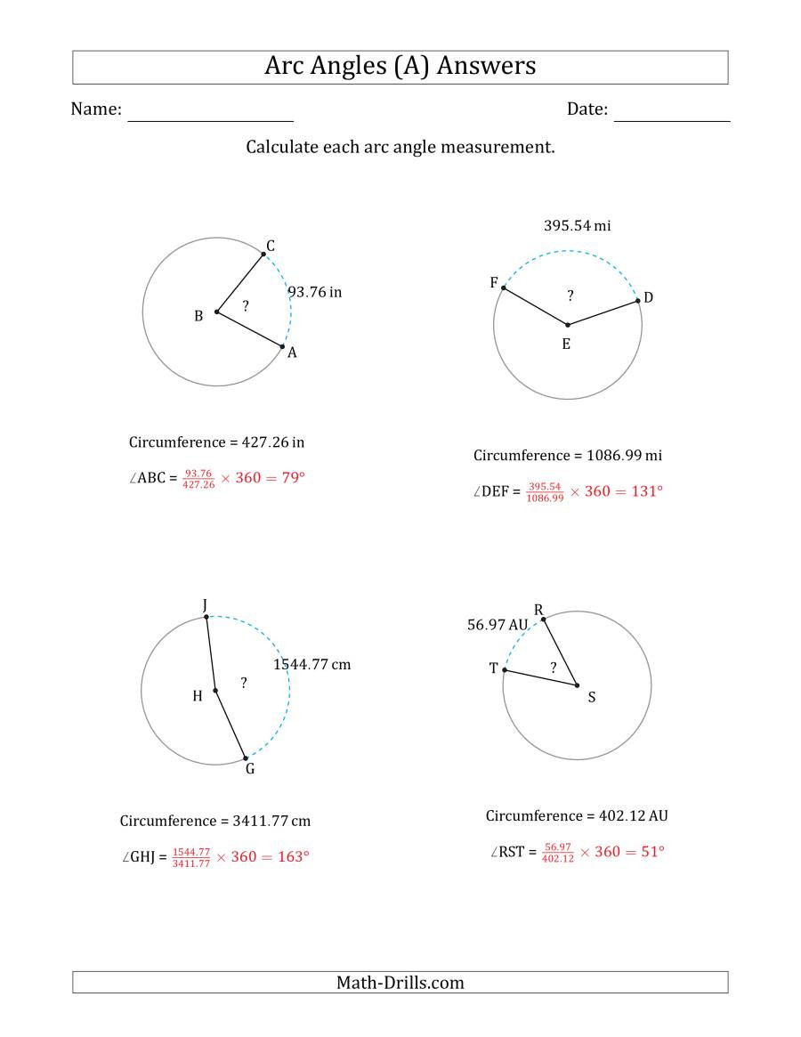 Angles In A Circle Worksheet Calculating Circle Arc Angle Measurements From Circumference A