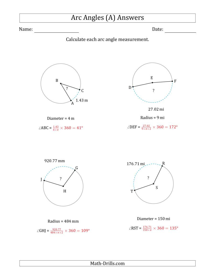Angles In A Circle Worksheet Calculating Circle Arc Angle Measurements From Radius or