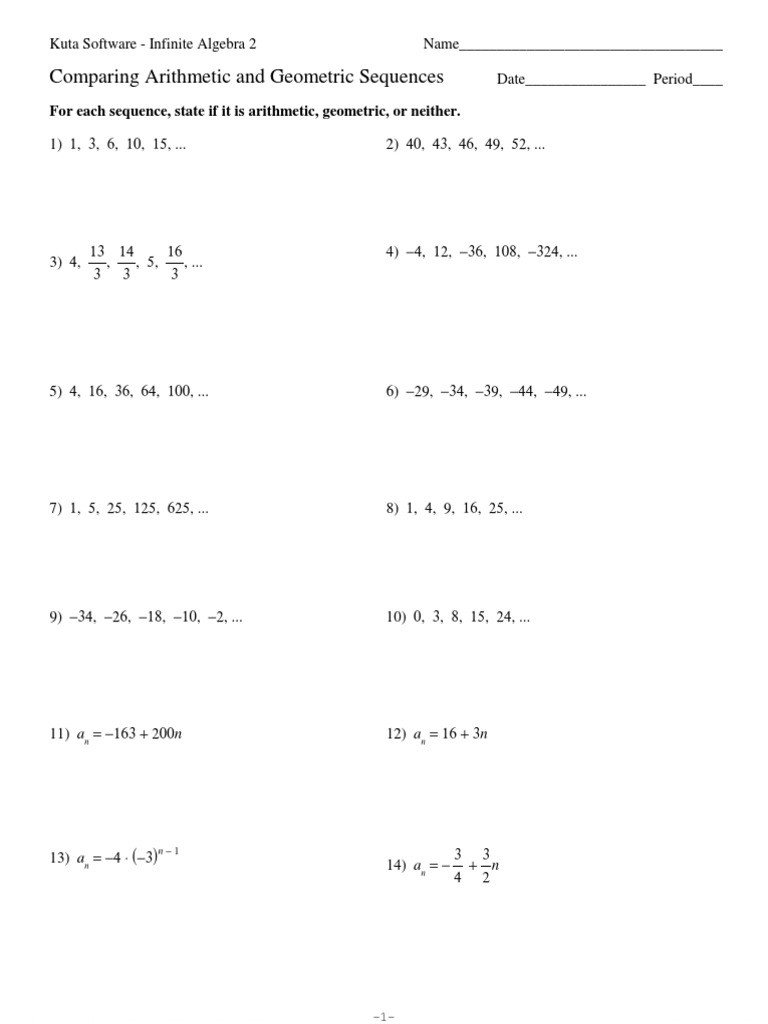 Arithmetic Sequence Worksheet Answers Paring Arithmetic and Geometric Sequences