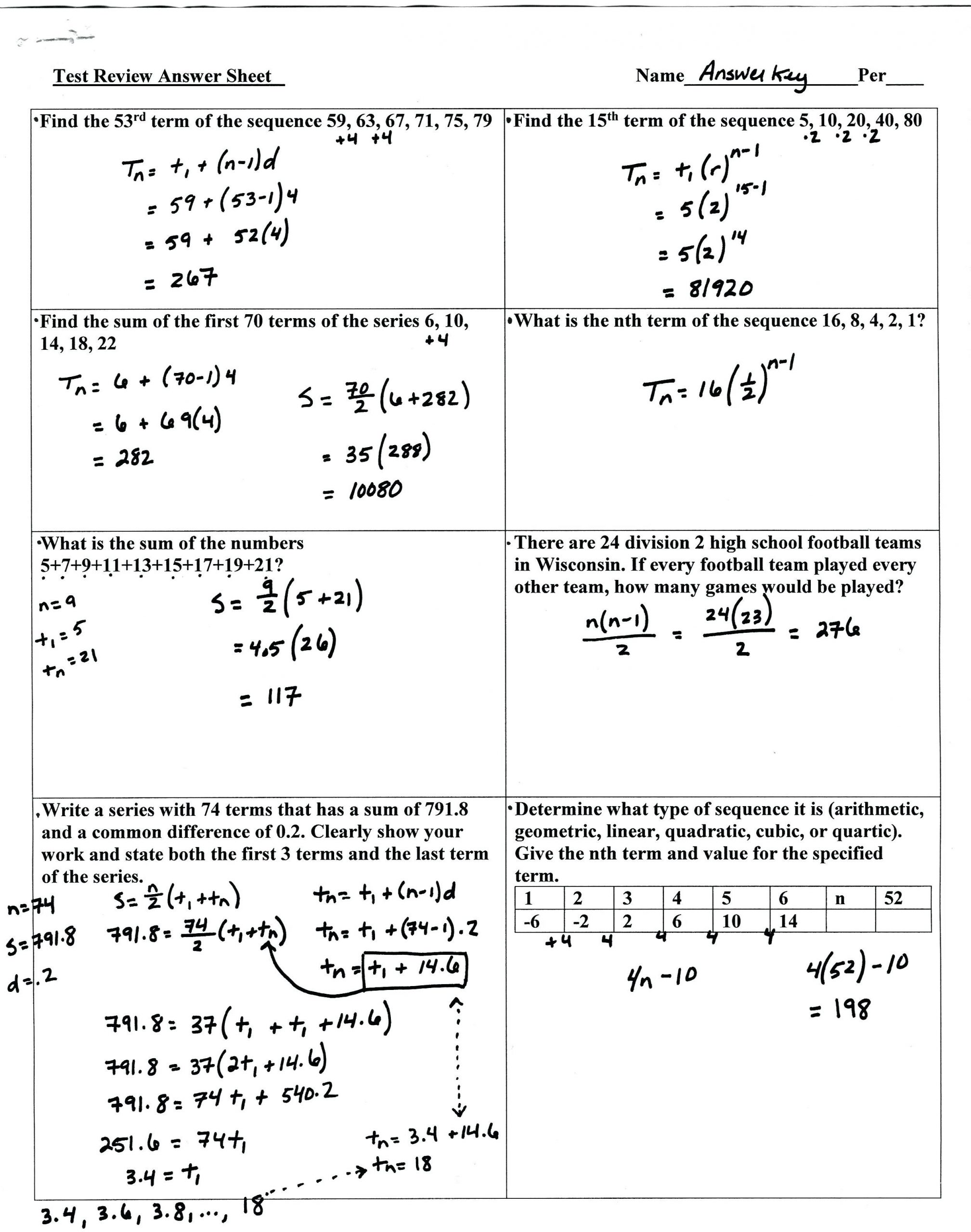 Arithmetic Sequence Worksheet with Answers Arithmetic Sequence Practice Worksheet Promotiontablecovers