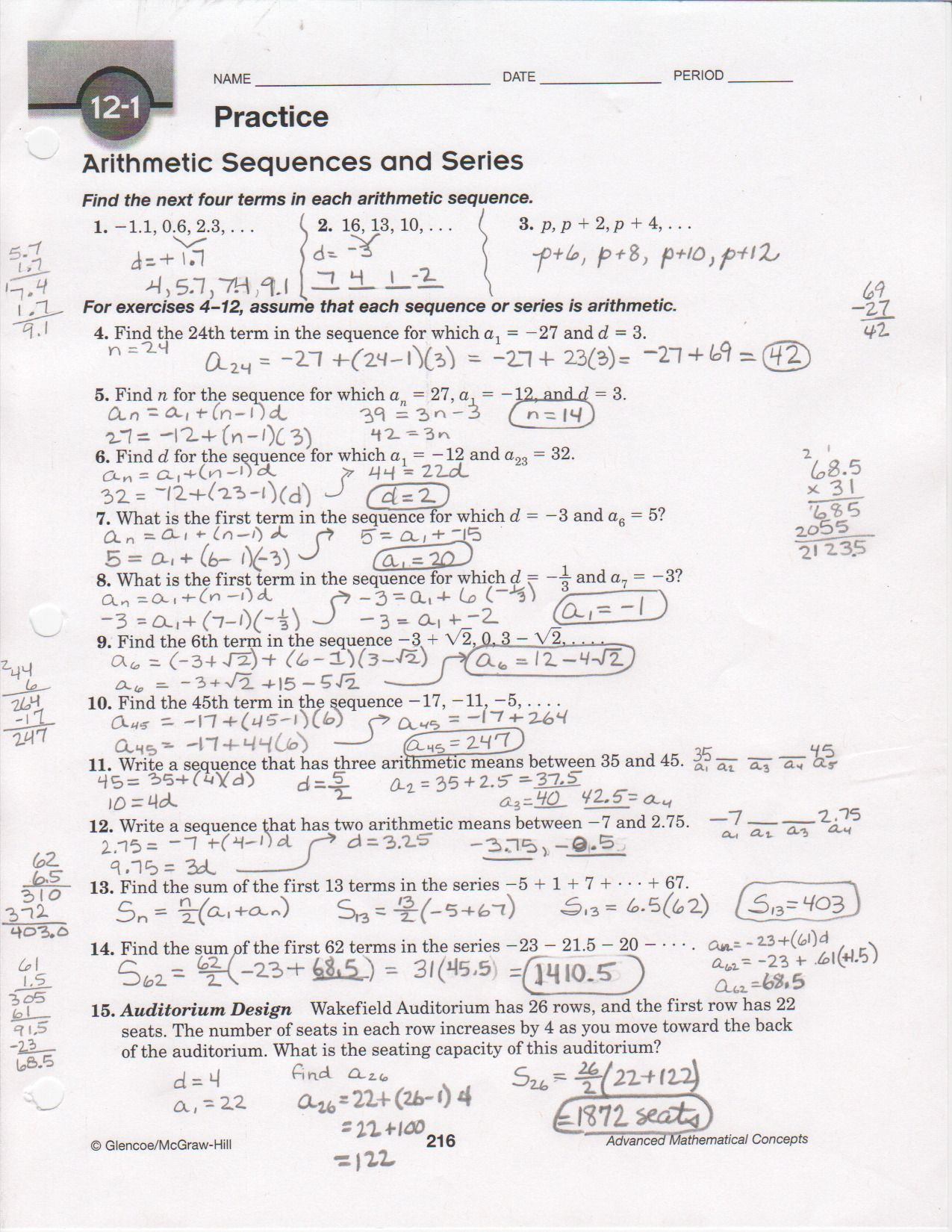 Arithmetic Sequence Worksheet with Answers Arithmetic Sequences Worksheet Answer Key Promotiontablecovers