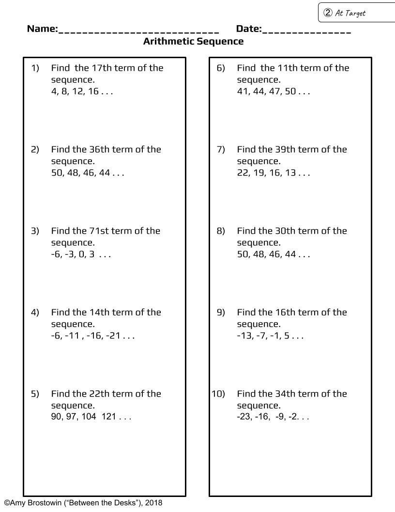 Arithmetic Sequences and Series Worksheet Arithmetic Sequence Practice at 3 Levels