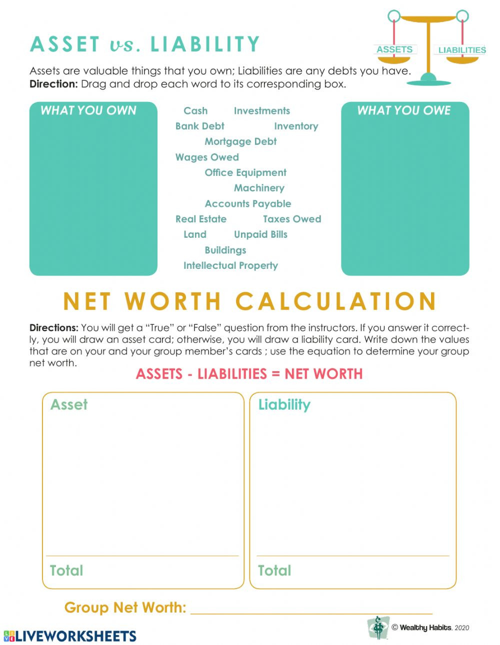 Assets and Liabilities Worksheet Wealthy Habits asset Vs Liability Interactive Worksheet