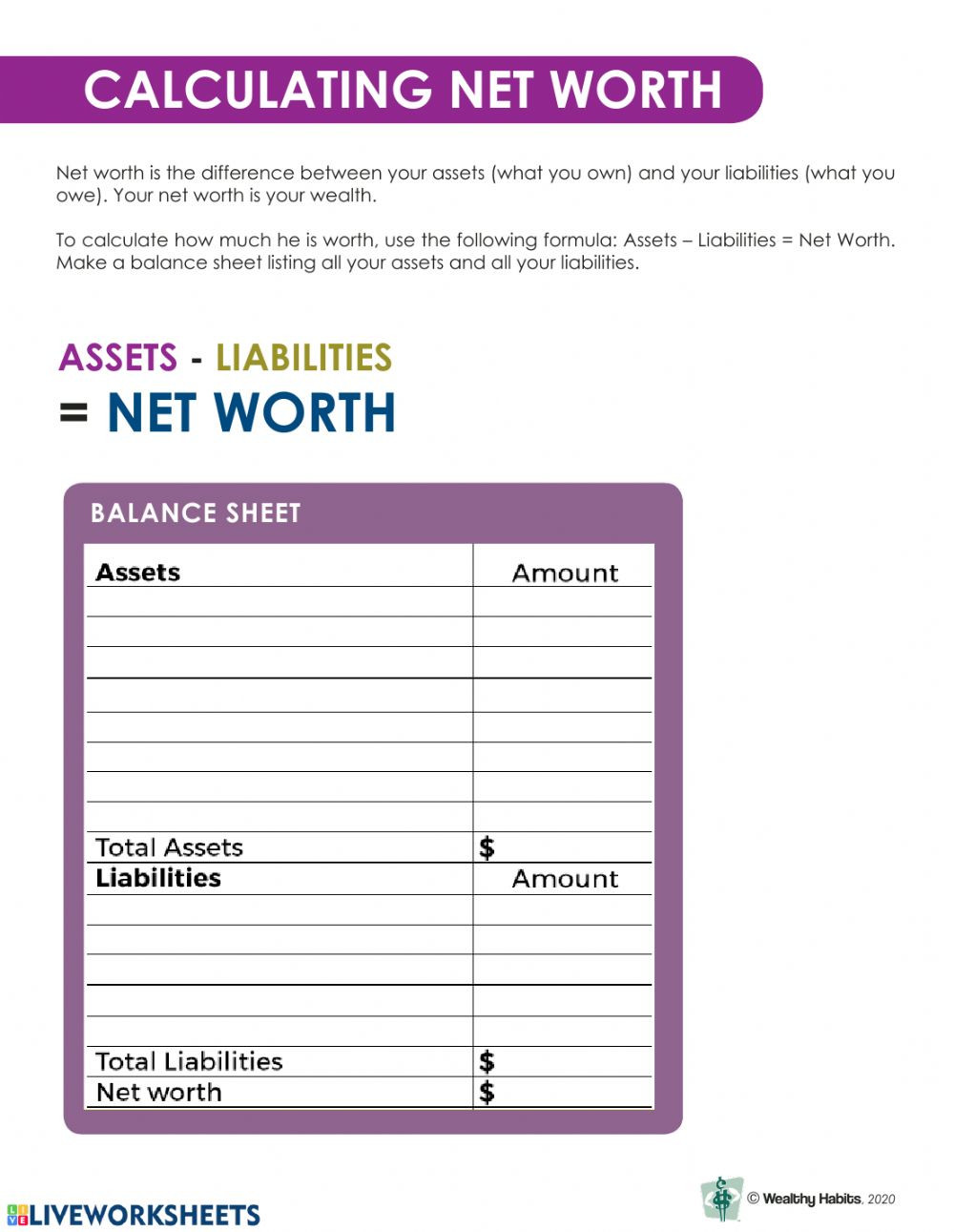 Assets and Liabilities Worksheet Wealthy Habits Calculating Net Worth Interactive Worksheet