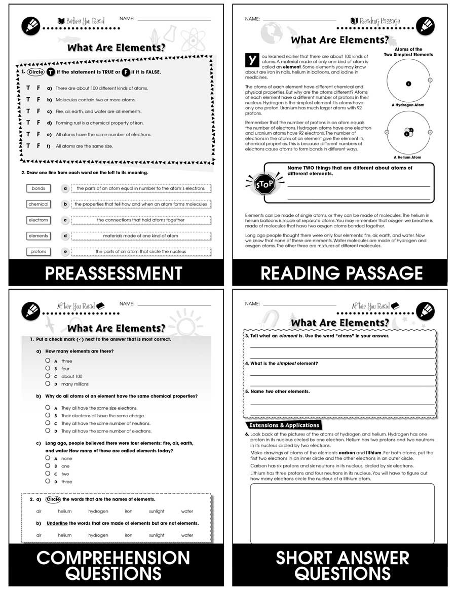 Atoms and Elements Worksheet atoms Molecules & Elements What are Elements Gr 5 8
