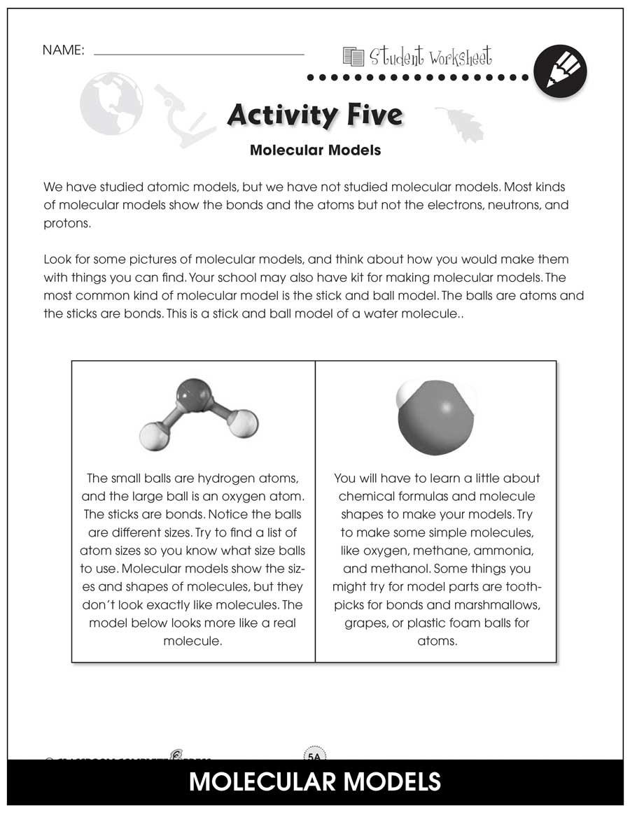Atoms and Molecules Worksheet atoms Molecules & Elements Bonus Worksheets Grades 5 to