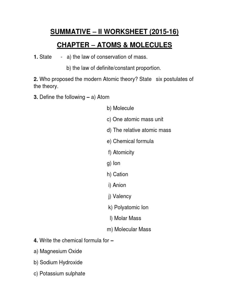 Atoms and Molecules Worksheet Chemistry Worksheet atoms and Molecules Ion
