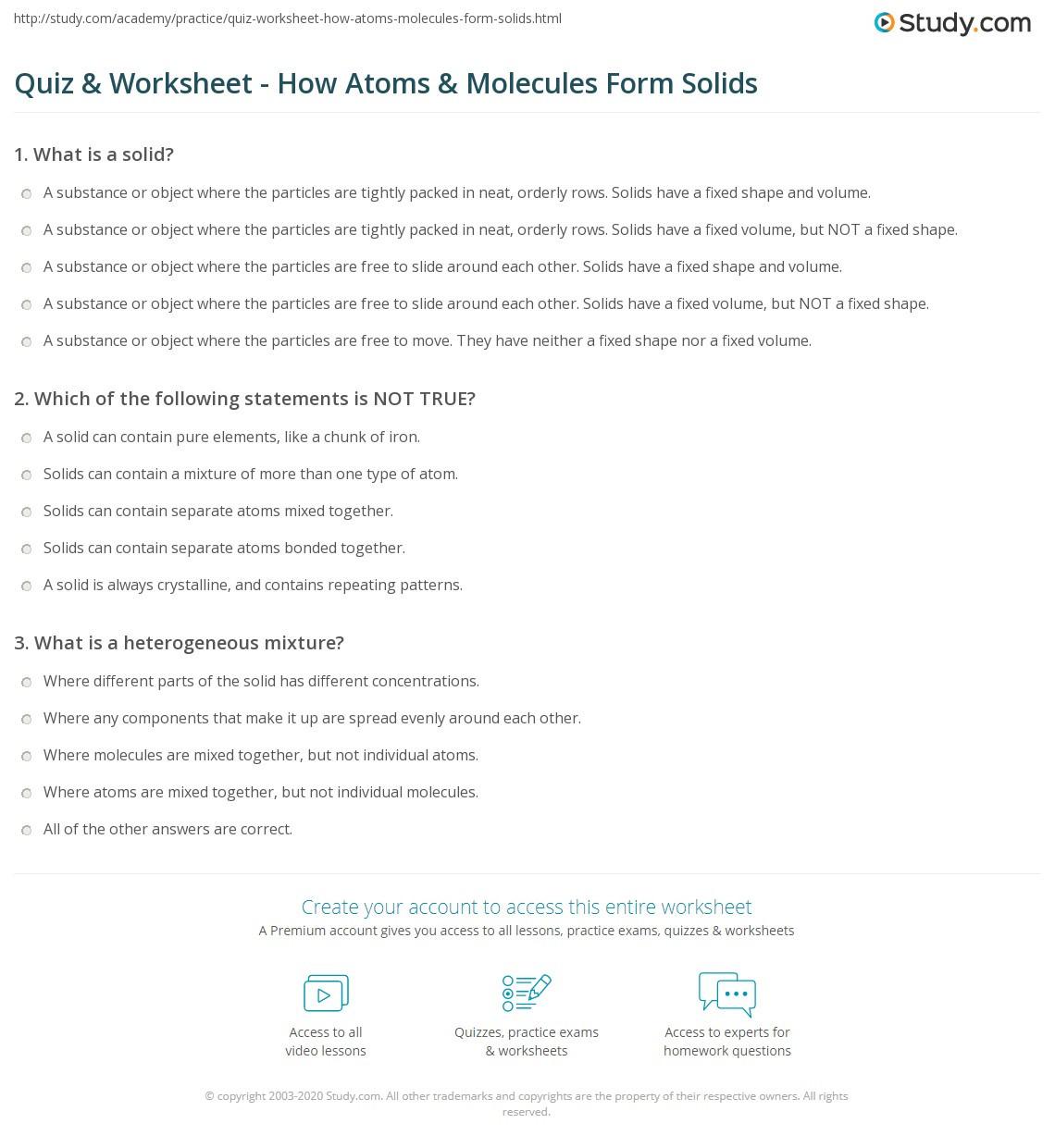 Atoms and Molecules Worksheet Quiz & Worksheet How atoms & Molecules form solids