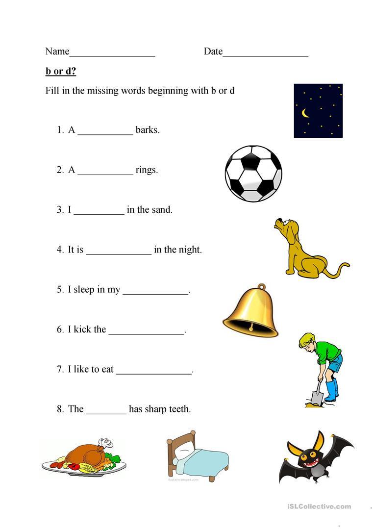 B and D Worksheet Beginning Letter B or D English Esl Worksheets for