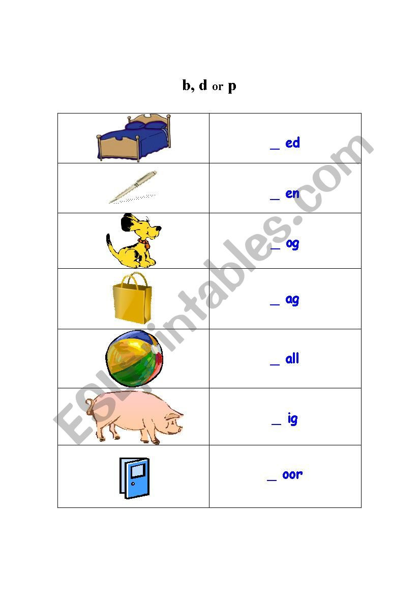 B and D Worksheet Letter B D and P Esl Worksheet by Sang Ha78