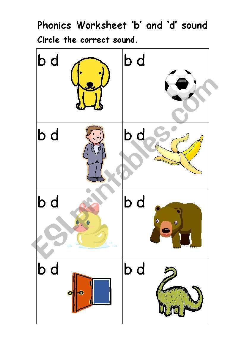 B and D Worksheet Phonics Worksheet ´b´ and ´d´ sound Esl Worksheet by Smadden17