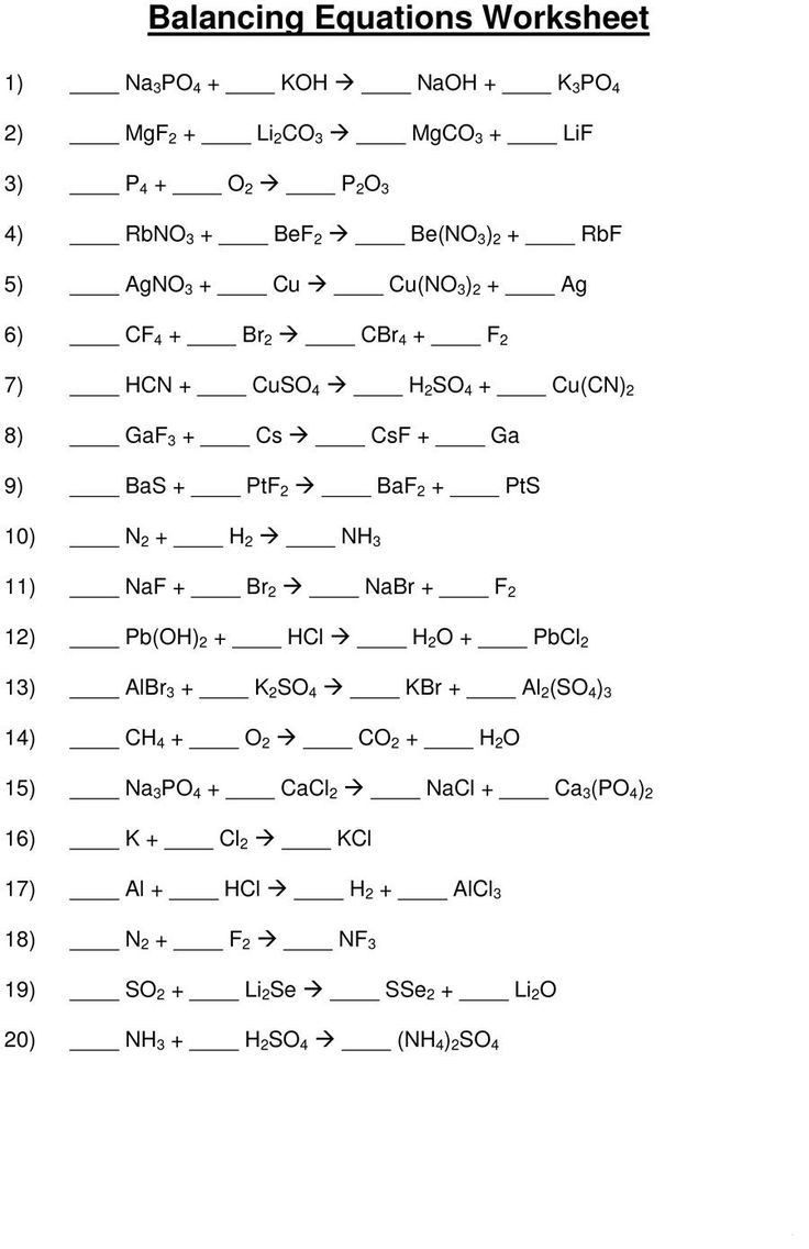 Balancing Equation Worksheet with Answers 49 Balancing Chemical Equations Worksheets [with Answers] In