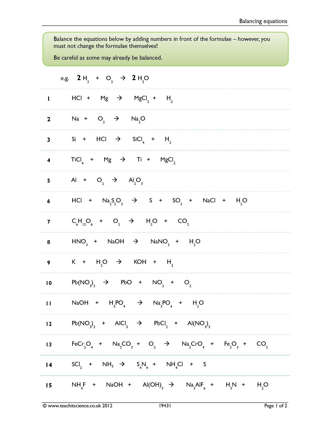 Balancing Equation Worksheet with Answers Balancing Equations