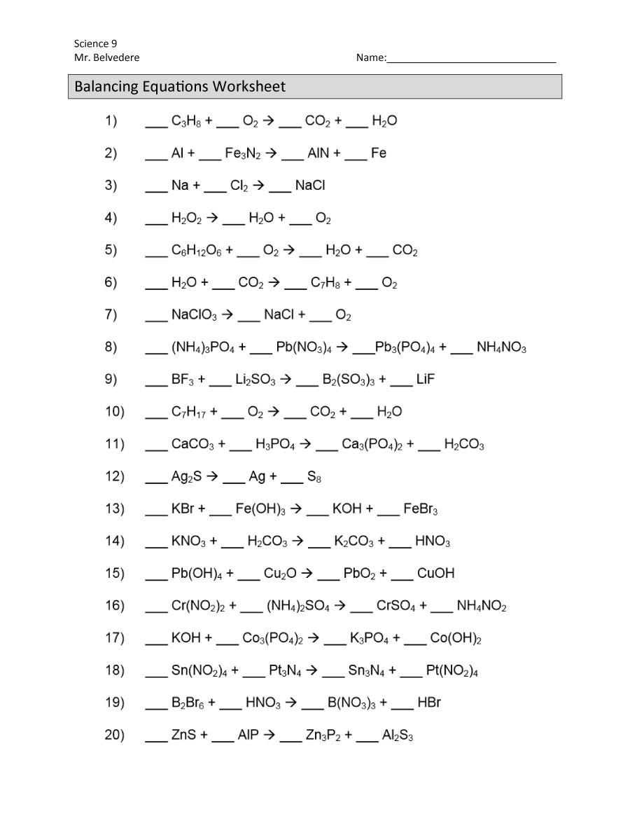 Balancing Equation Worksheet with Answers Chemistry Balancing Equations Quizlet Tessshebaylo