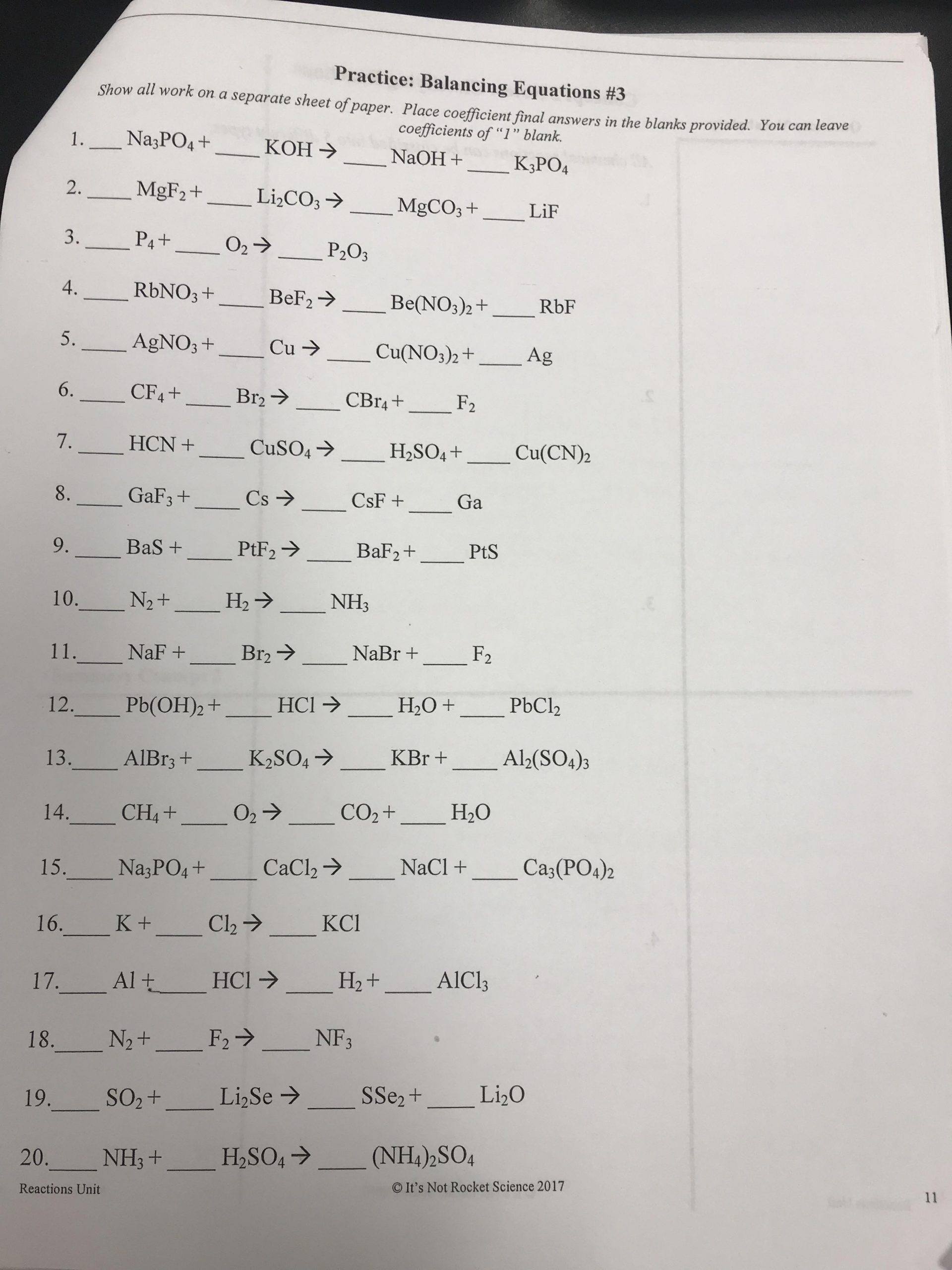 Balancing Equation Worksheet with Answers Grade 9 Physical Science Chemical Reactions] Balancing