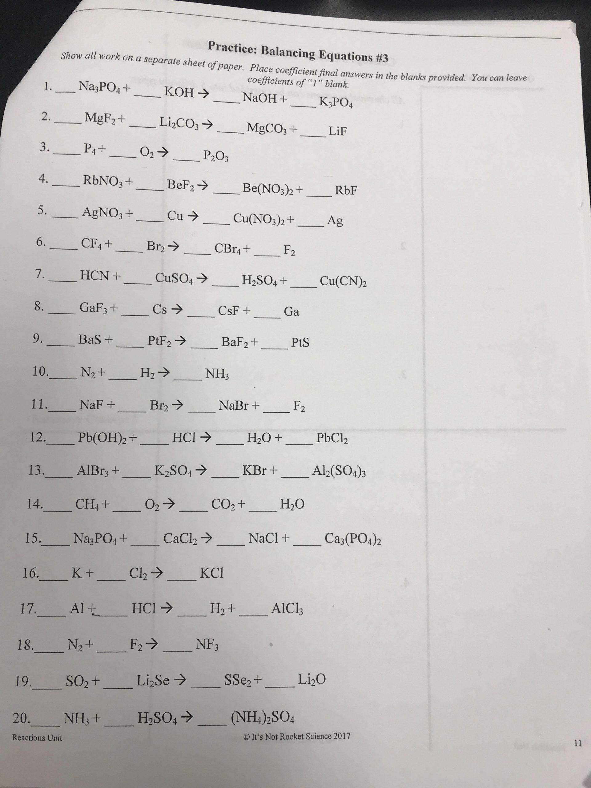Balancing Equations Worksheet Answers Grade 9 Physical Science Chemical Reactions] Balancing