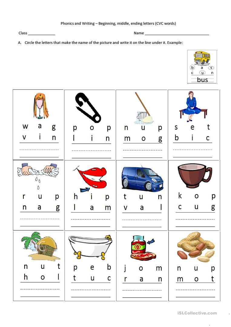 Beginning Middle End Worksheet Cvc Words Beginning Middle Ending Letters English Esl
