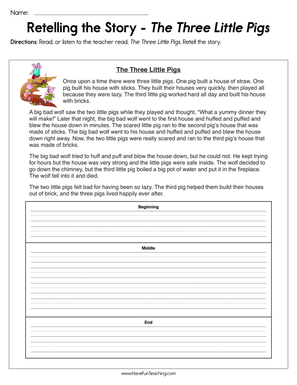 Beginning Middle End Worksheet Retelling the Story the Three Little Pigs Worksheet