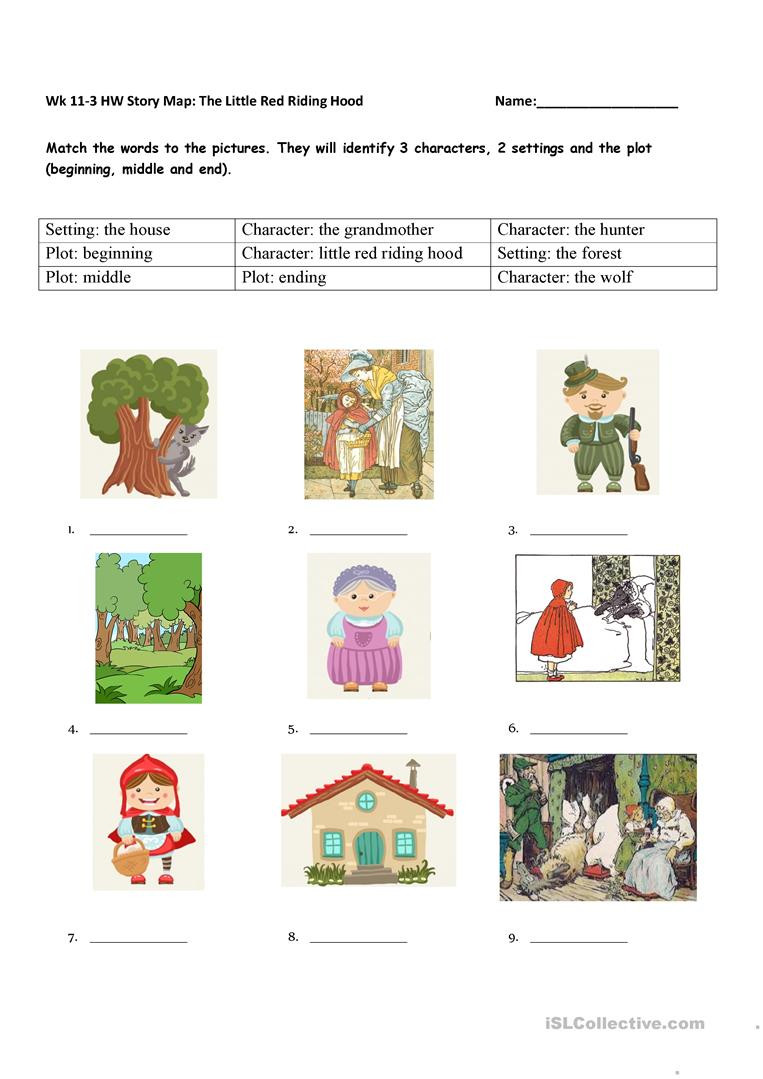 Beginning Middle End Worksheet Story Element Matching the Little Red Riding Hood English