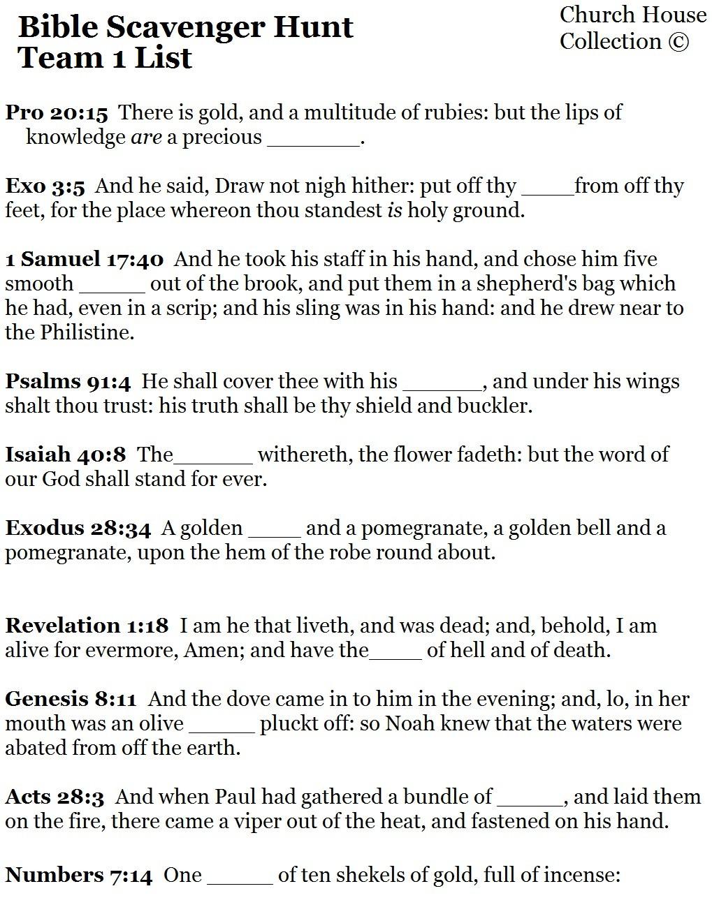 Bible Scavenger Hunt Worksheet Bible Scavenger Hunt