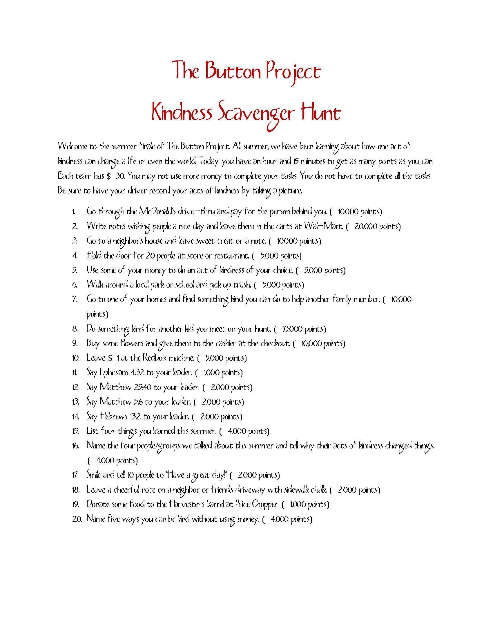 Bible Scavenger Hunt Worksheet Lessons From A Kindness Scavenger Hunt