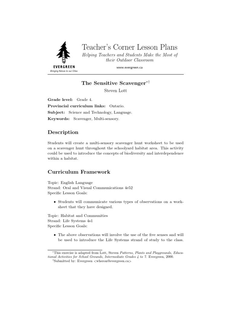 Bible Scavenger Hunt Worksheet the Sensitive Scavenger Grade 4 Lesson Plans