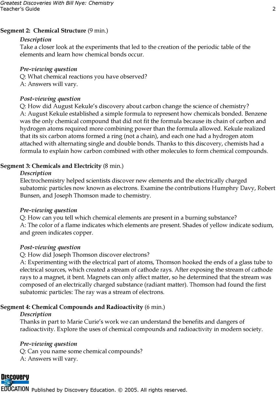 Bill Nye Chemical Reactions Worksheet Greatest Discoveries with Bill Nye Chemistry Teacher S