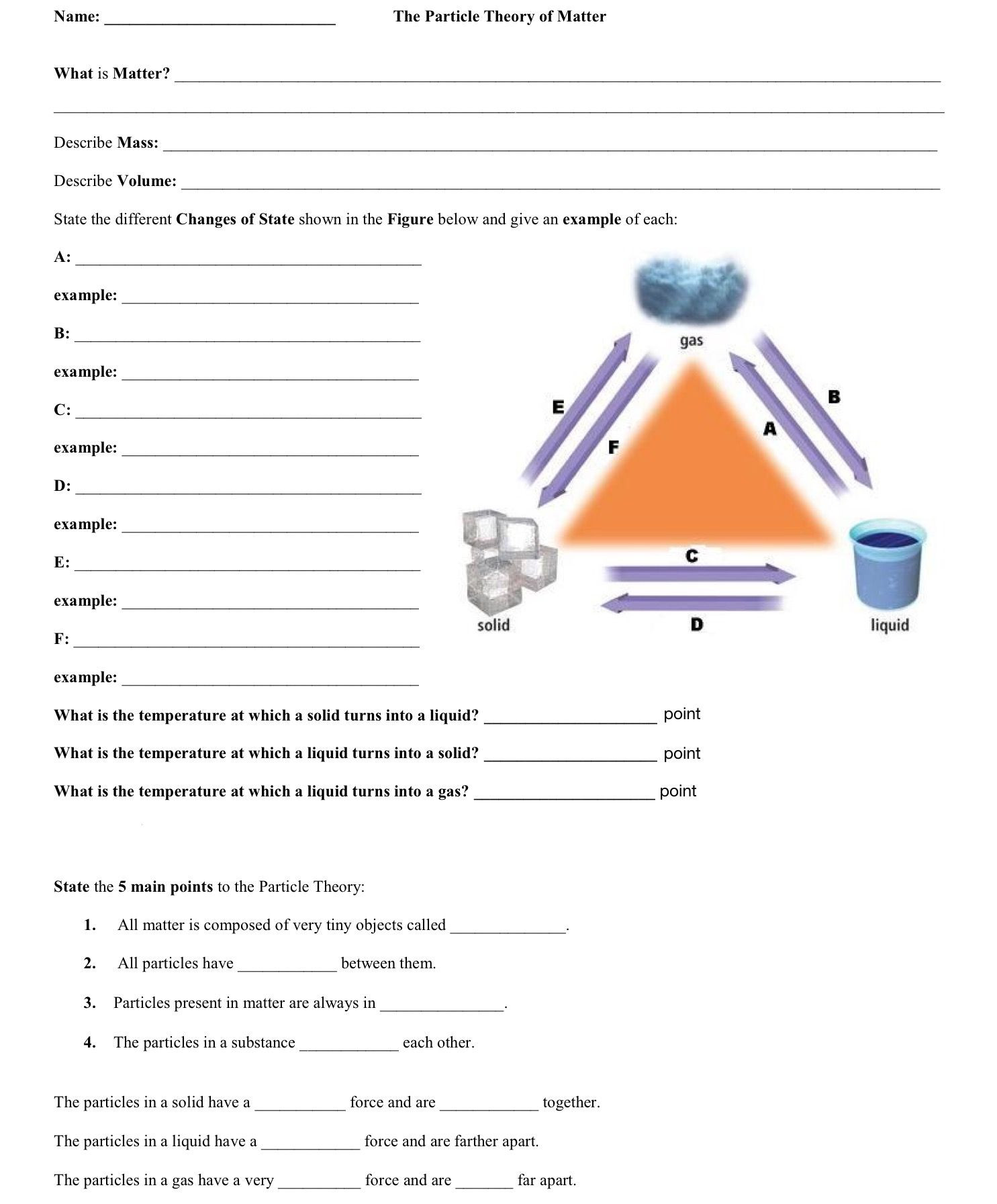 Bill Nye Chemical Reactions Worksheet the Particle theory Of Matter Worksheet Monday April 1