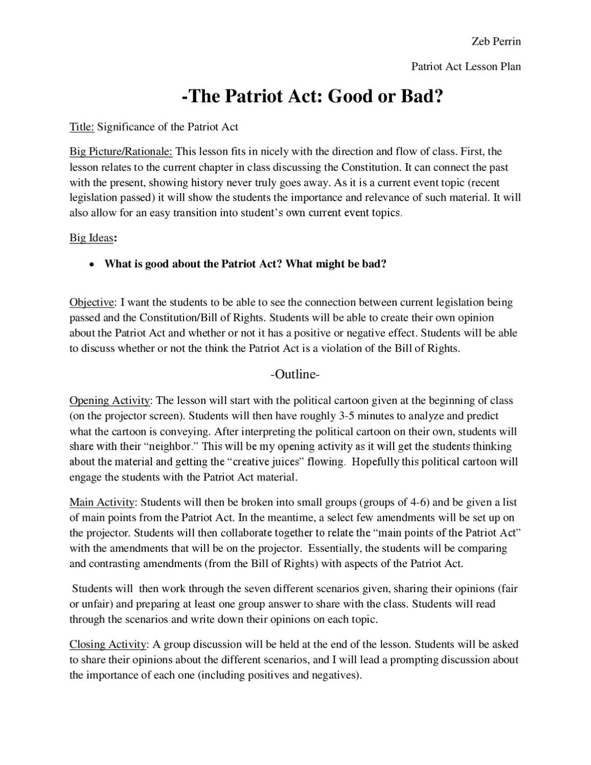 Bill Of Rights Scenario Worksheet the Patriot Act Lesson Plan by Zeb Perrin issuu