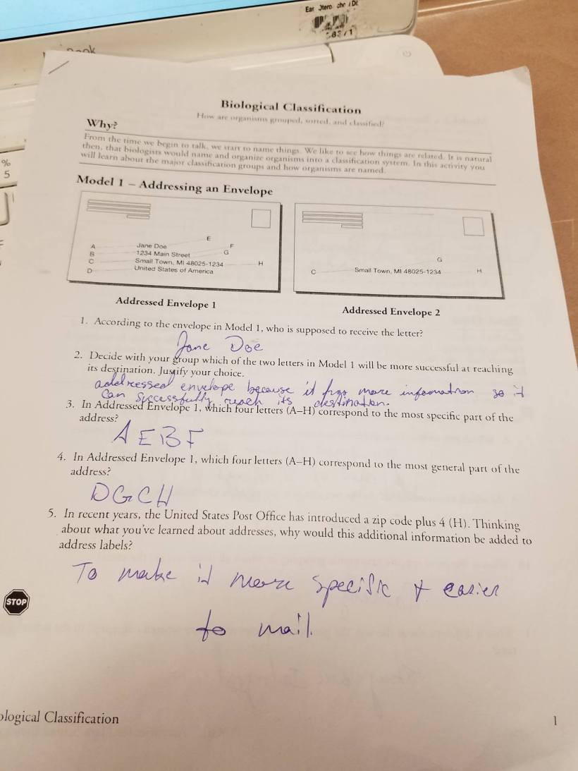 Biological Classification Worksheet Answers Biological Classification – Caitlyn S Bio Blog