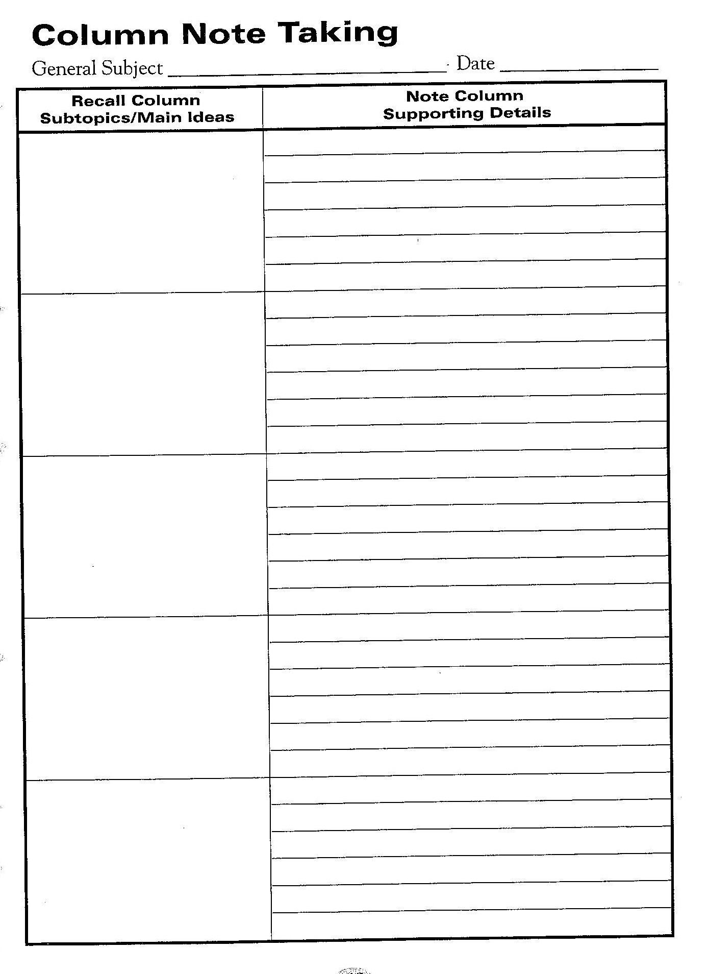 Blank Vocabulary Worksheet Template Free Printable Cornell Notes Graphic organizer
