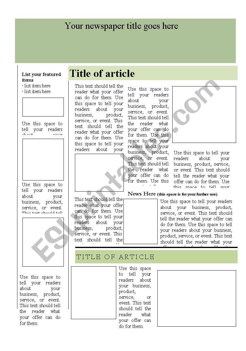 Blank Vocabulary Worksheet Template Newspaper Template Esl Worksheet by Liliaamalia