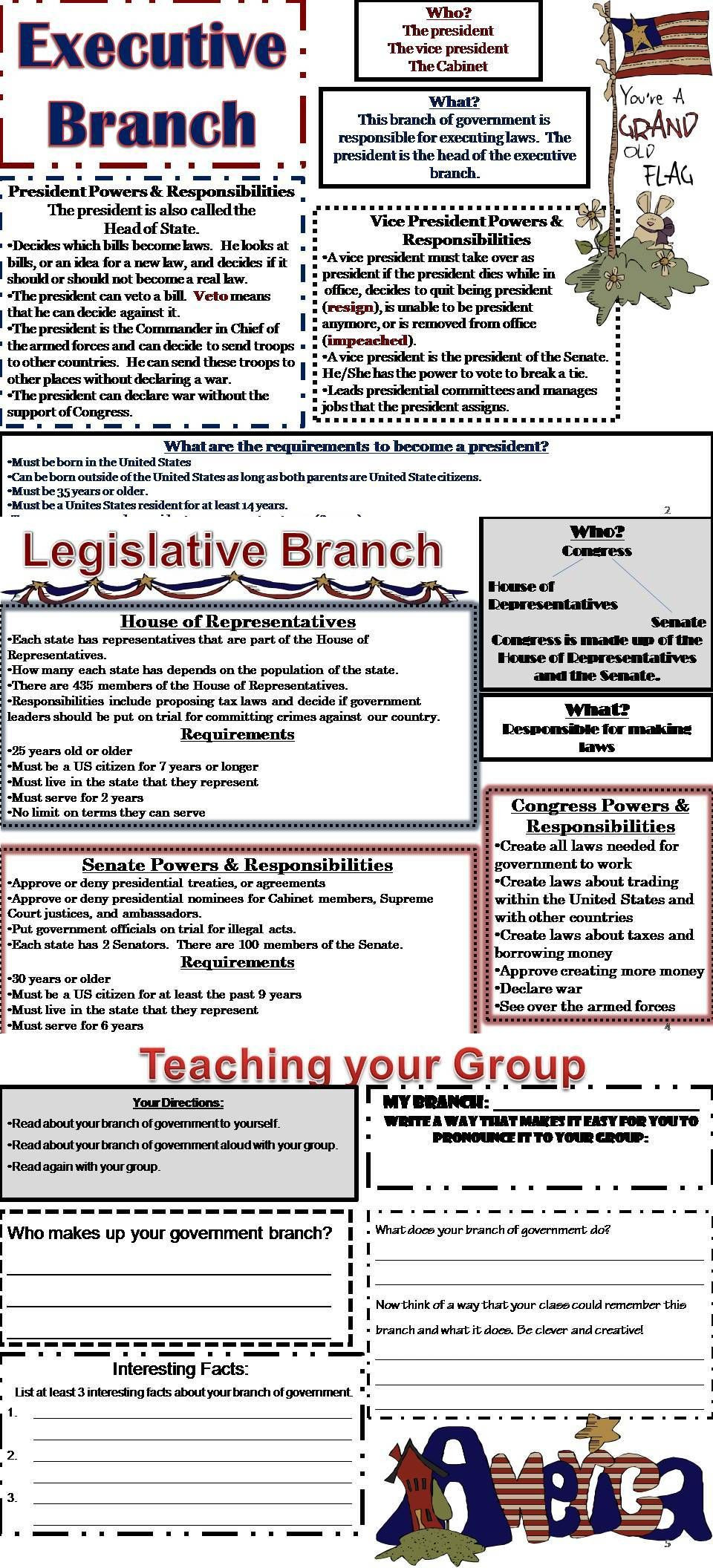 Branches Of Government Worksheet Pdf Branches Of Government Activity Packet Mon Core Aligned