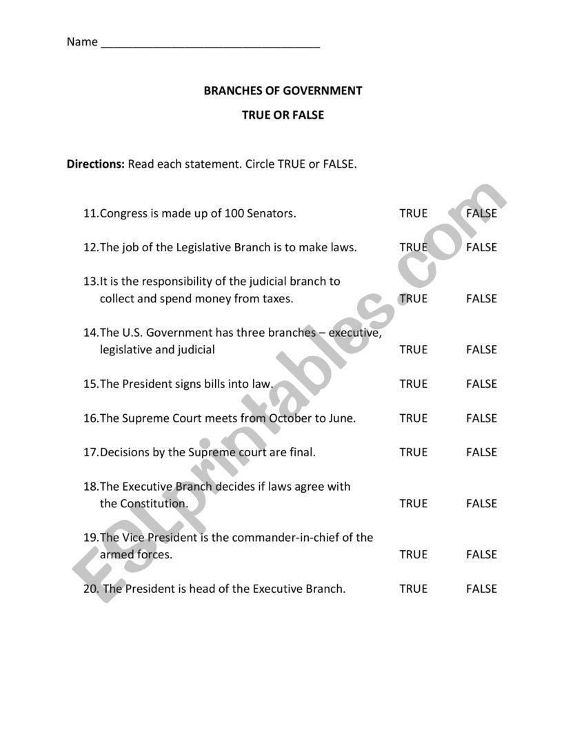 Branches Of Government Worksheet Pdf Branches Of Government Quiz Esl Worksheet by Cgover