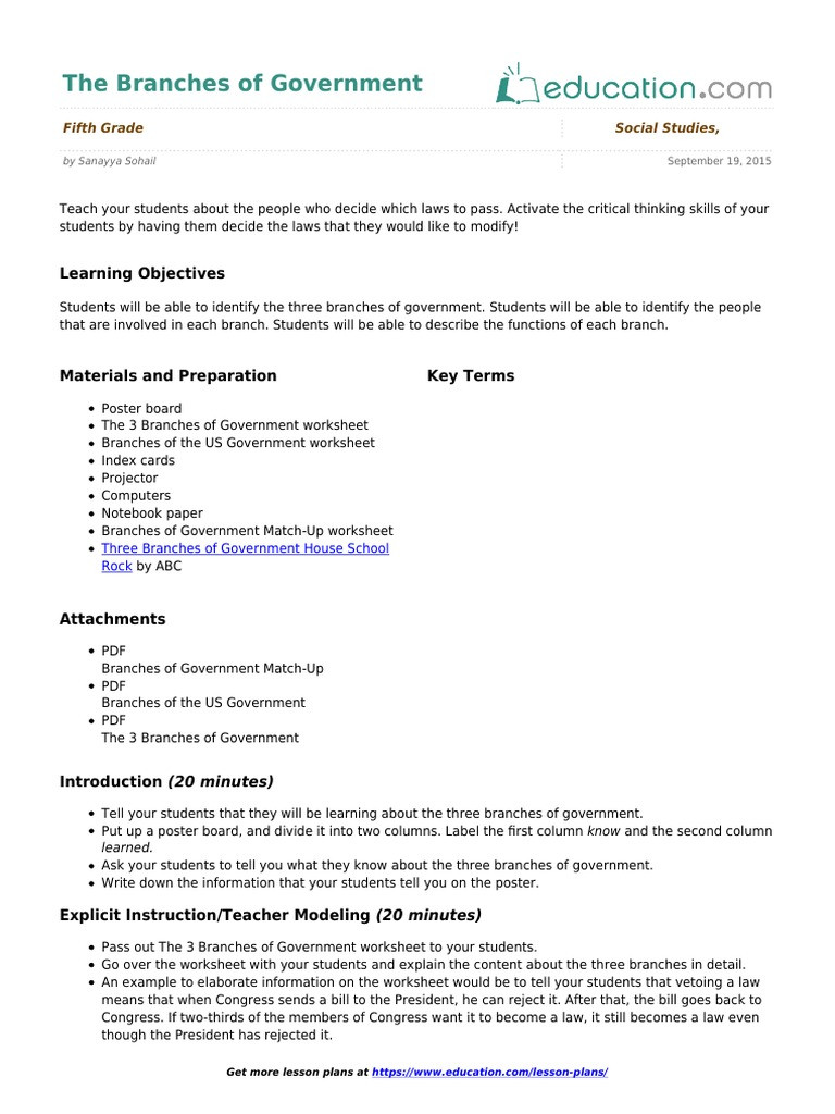 Branches Of Government Worksheet Pdf the Branches Of Government Lesson Plan