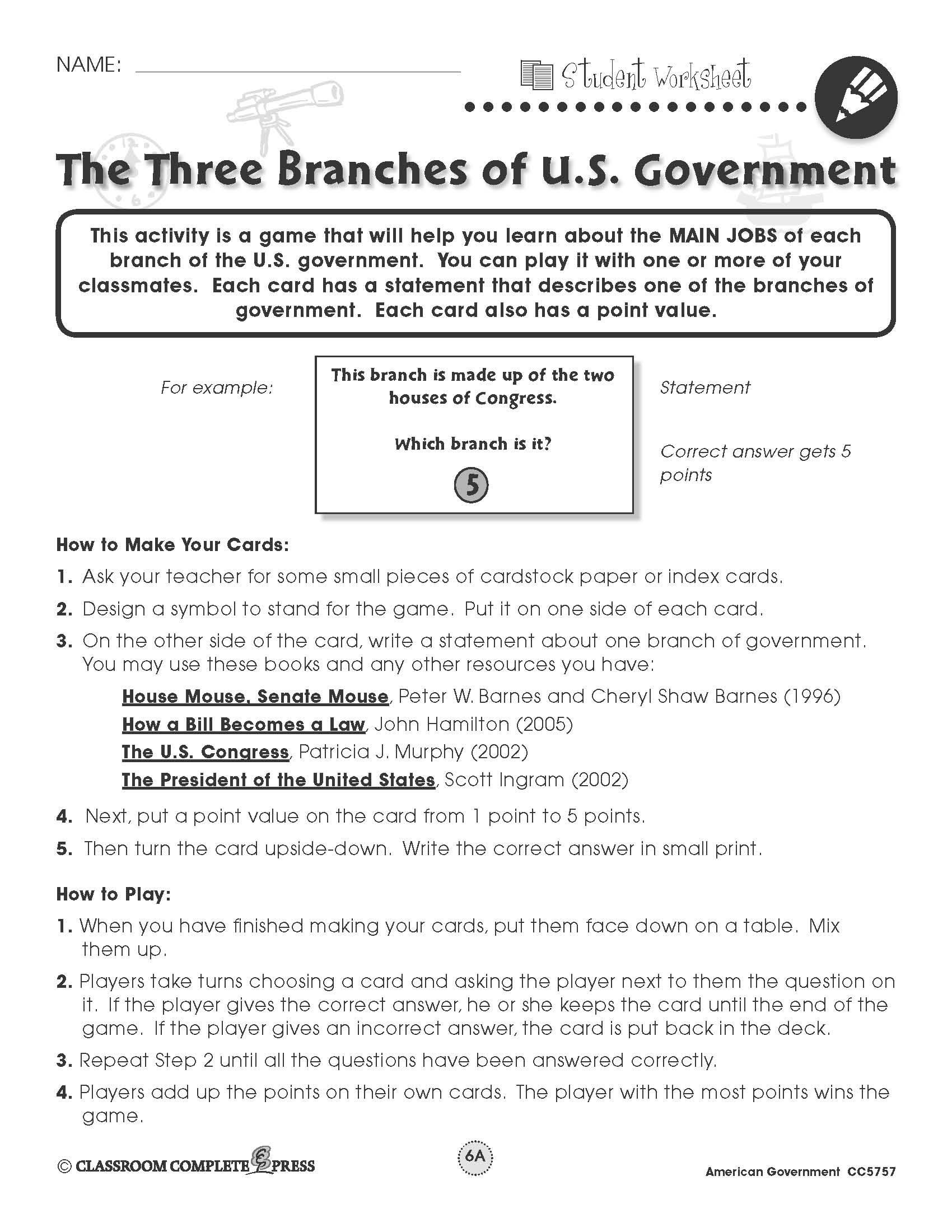 Branches Of Government Worksheet Pdf Three Branches Government Worksheet Pdf