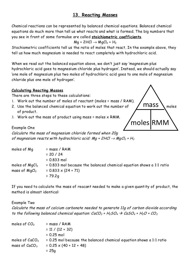 Calculating Average atomic Mass Worksheet 13 Reacting Masses