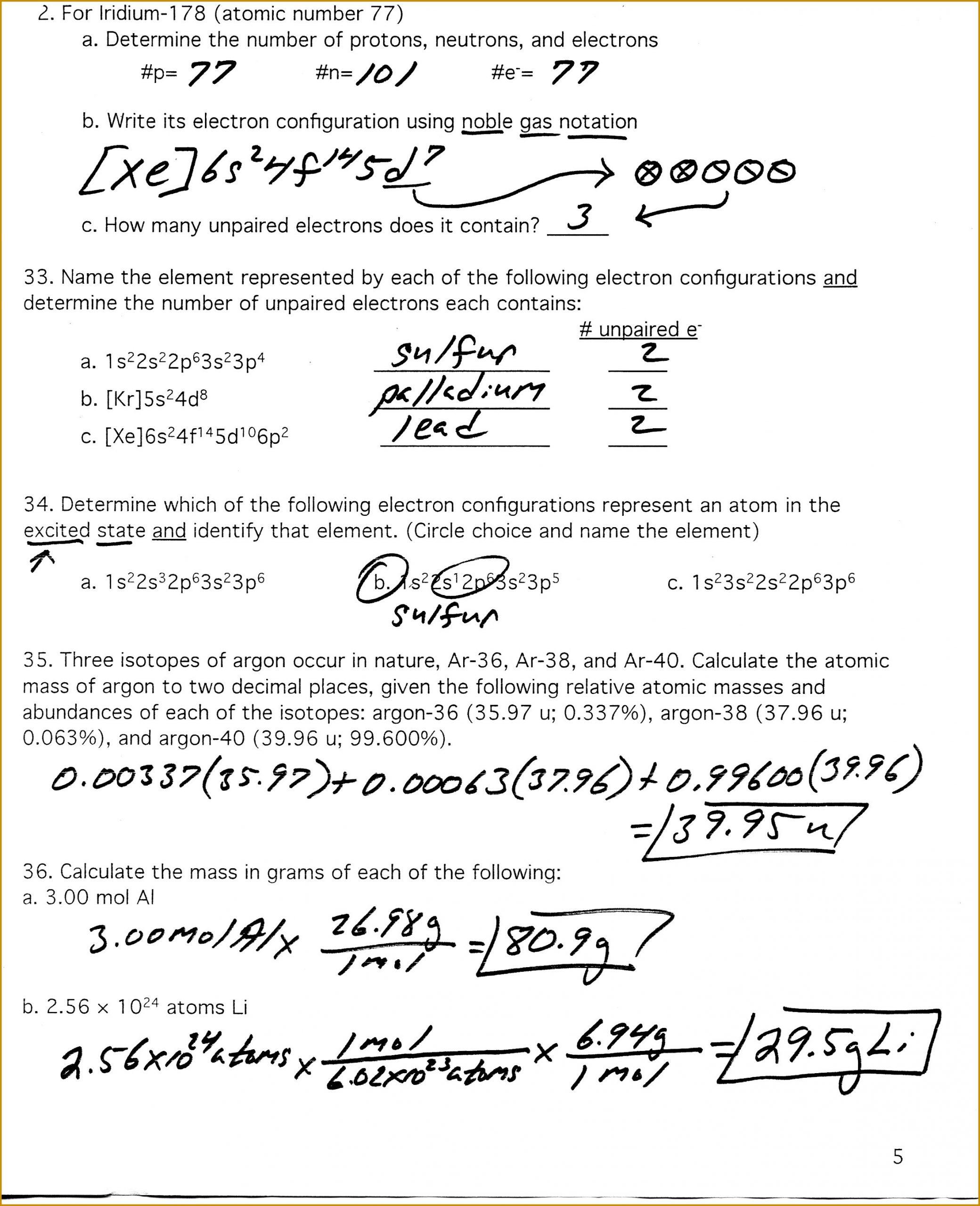 Calculating Average atomic Mass Worksheet Average atomic Mass Worksheet Answers Nidecmege