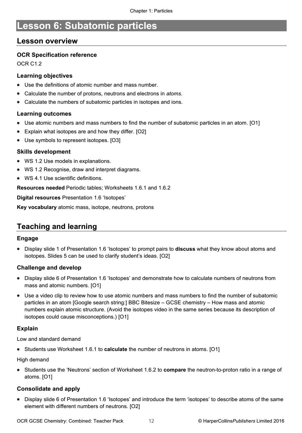 Calculating Average atomic Mass Worksheet Ocr Gateway Gcse 9 1 Bined Science Teacher Pack by
