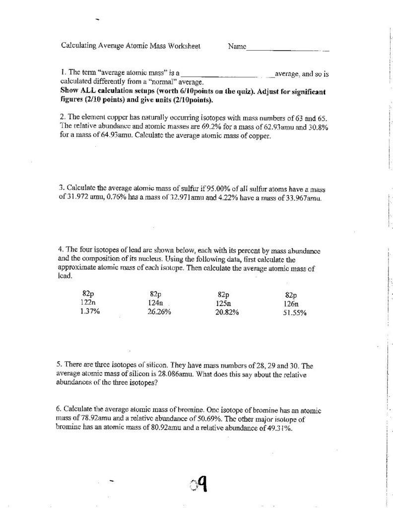 Calculating Average atomic Mass Worksheet Unit 6 Calculating Average atomic Mass Worksheet Cglass