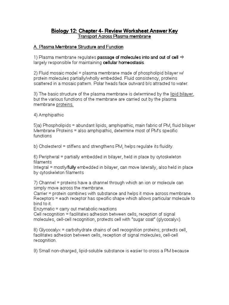 Cell Membrane Images Worksheet Answers Biology 12 Unit E Cell Processes and Applications