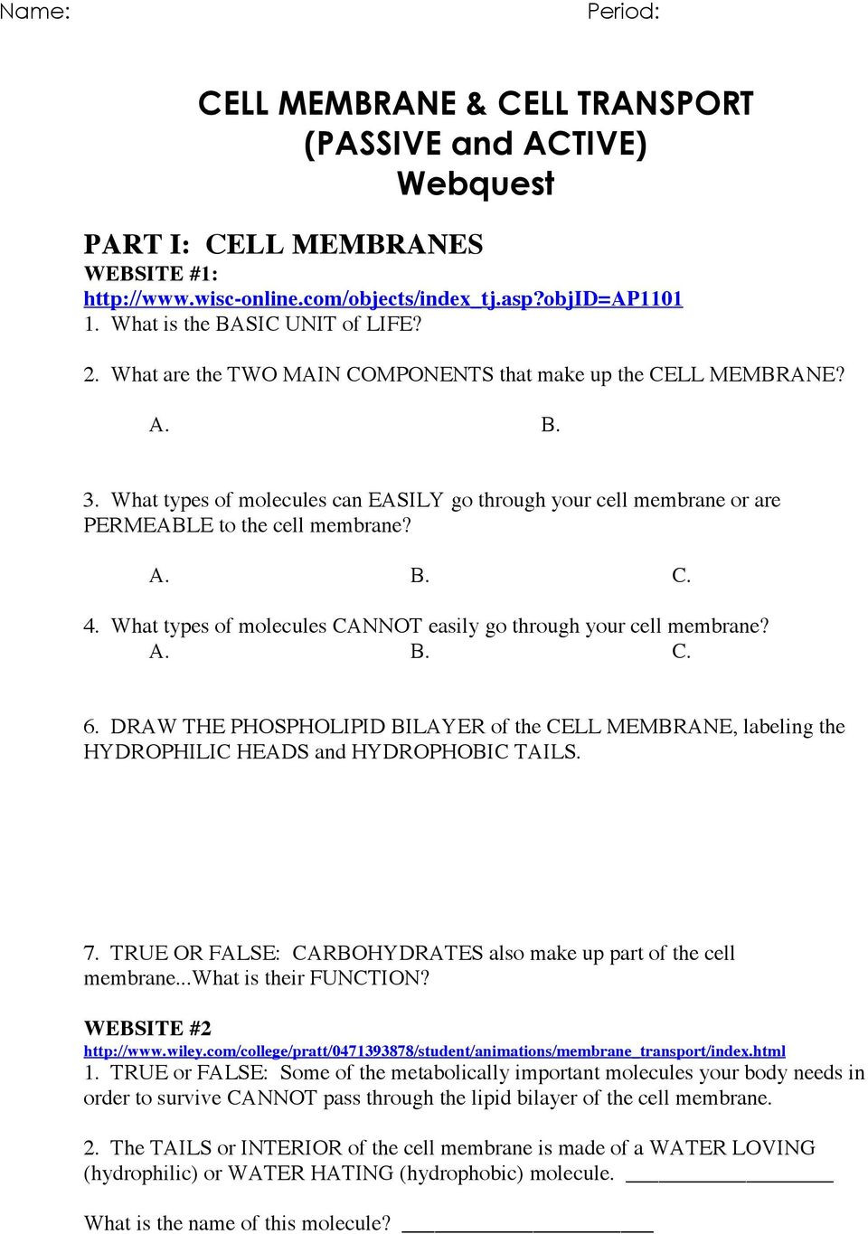 Cell Transport Worksheet Biology Answers Cell Membrane & Cell Transport Passive and Active Webquest
