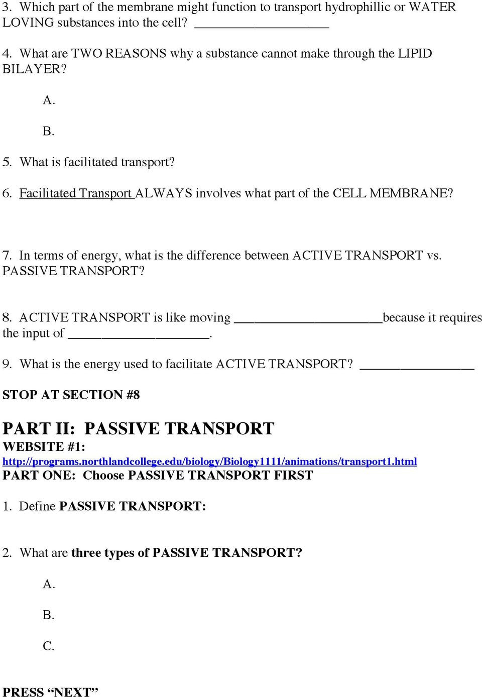 Cellular Transport Worksheet Answer Key Cell Membrane & Cell Transport Passive and Active Webquest