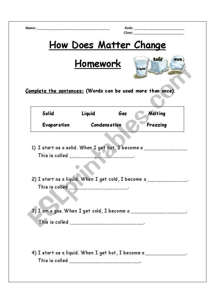 Changes In Matter Worksheet How Does Matter Change Esl Worksheet by Hindh