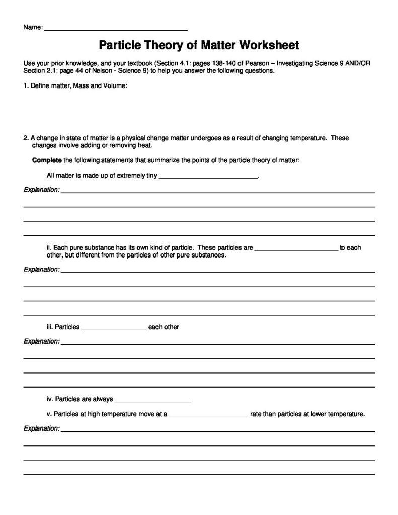 Changes In Matter Worksheet Snc1d Classification Matter Worksheet