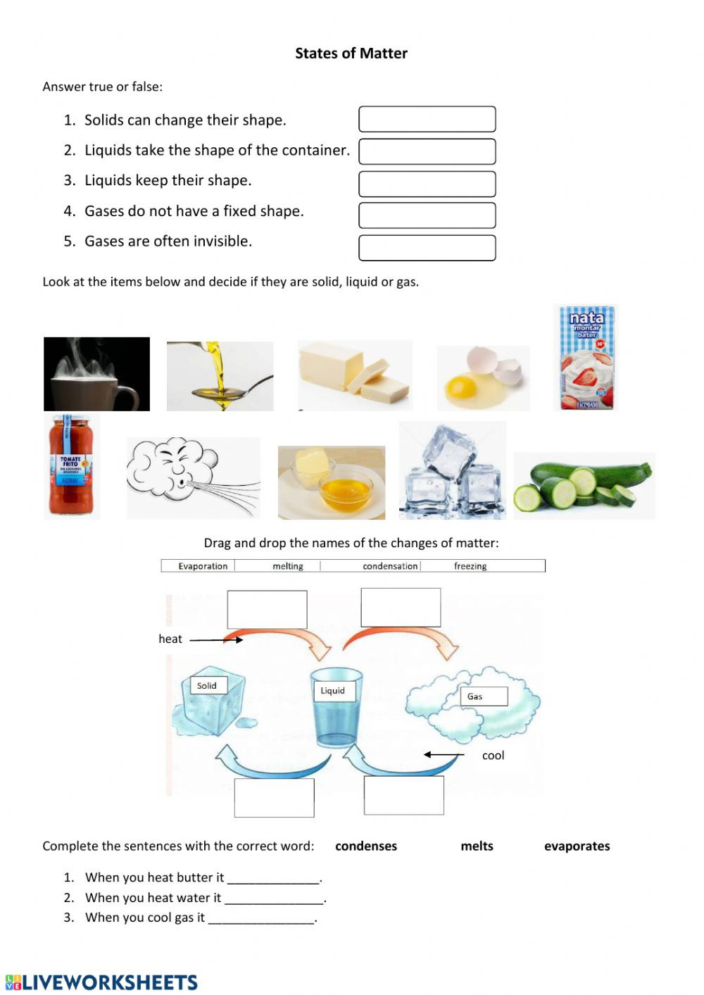 Changes In Matter Worksheet States and Changes Of Matter Interactive Worksheet