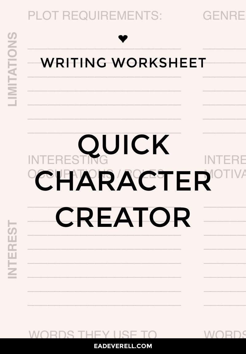 Character Traits Worksheet Pdf Character Creation Writing Worksheet Wednesday