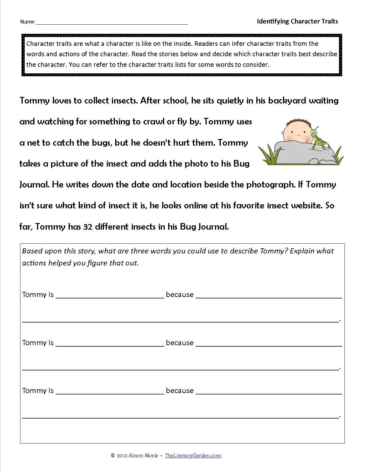 Character Traits Worksheet Pdf Identifying Character Traits In Literature